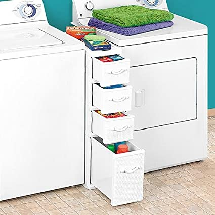 Charming Wicker Laundry Organizer Between Washer Dryer Drawers