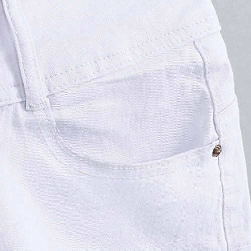 Sólido Cintura Cortos Mezclilla Lavado De Cortos Tendencia Blanco Casual Corta Jeans Pequeños Npradla Vaqueros Con Moda vUx0wv