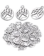 50pcs Antique Silver Paw Print Charms Alloy Dog Cat Bear Footprint Pendants Animal Paw Charms Jewelry Making Accessories for DIY Earrings Necklace Bracelet and Crafting