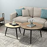Solid Wood Coffee Table Set Tribesigns Industrial Nesting Coffee Table Set of 2, Round End Side Table for Living Room Balcony Home and Office, Solid Wood & Metal Tube (Rustic Brown)