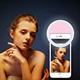 New Selfie Ring Light,Joseche Ring Light for Camera [Rechargable Battery][No Battery required] Portable Selfie LED Camera Light for iPhone iPad Sumsung Galaxy Photography and More Smart Phones(Pink)