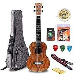ALL SOLID ACACIA TENOR Ukulele Professional Glossly 4 String Ukuleles Hawaii 26 inches Uke with Accessories Capo Strap…