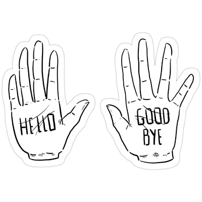 Vijk kor Klaus Hands- Hello/Good Bye Stickers (3 Pcs/Pack): Kitchen & Dining