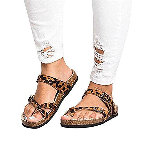 Ashuai Women's Faux Leather Buckle Toe Sandals Faux Cork Platform Sandals Shoes (11 B(M) US - EU Size 42, Z- Leopard)