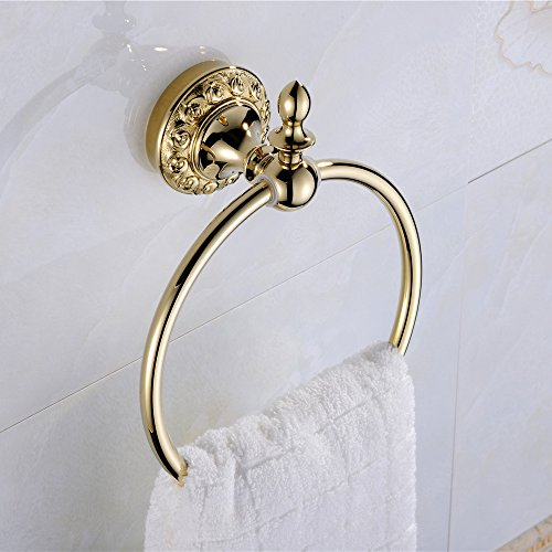 Ring Towel Gold (Leyden Wall Mount Bathroom Golden Ti-PVD Finish Brass Material Towel Ring Racks)