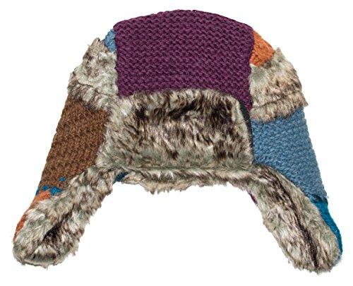 (Everest Designs Patch Work Fur Flap, One Size, Purple)