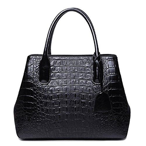 en à Sacs pour Sacs main Noir femmes à bandoulière Motif Sac SANSJI en mode cuir la à crocodile xIqYwn1