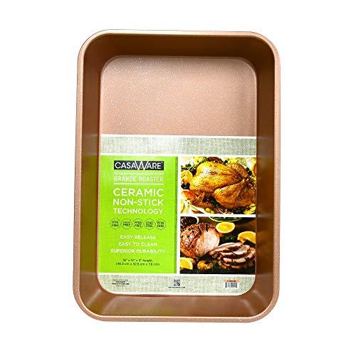 casaWare Grande Lasagna/Roaster Pan 18 x 12 x 3-Inch – Extra Large, Ceramic Coated NonStick (Rose Gold Granite)