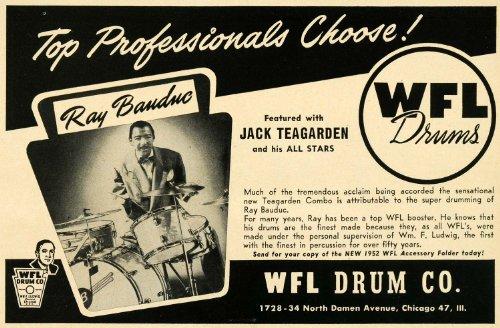 1952 Ad WFL Drums Ray Banduc Jack Teagarden All Stars - Original Print Ad (Art Wfl)