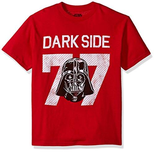 Star Wars Big Boys' Vader Dark Side 77 Jersey Graphic Tee, Red, YS