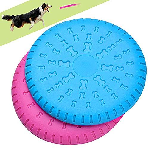 Legendog 2 Pcs Dog Flying Disc Rubber Catcher Toy 9 Inch Large Dog Toys(Pink & Blue)