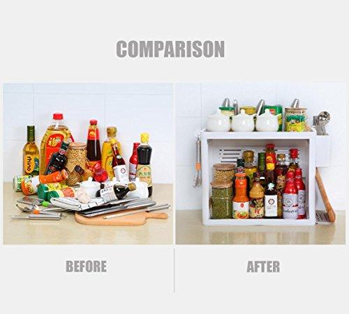 iHEBE 2 Tier Kitchen Organizer Spice Rack Shelf Cabinet Storage Organizer Countertop Shelf