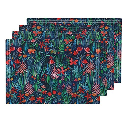 Roostery Floral 4pc Organic Cotton Sateen Cloth Placemat Set - Floral Watercolor Watercolor Garden Tropical Navy Blue Painting Le Feuvre Floral by Micklyn (Set of 4) 13 x 19in