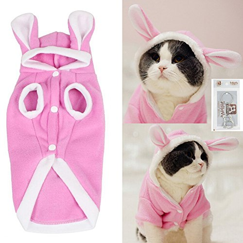 Bro'Bear Plush Rabbit Outfit with Hood & Bunny Ears for Small Dogs & Cats Pink (Large) -