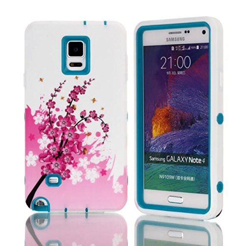 Note 4 Case,Galaxy Note 4 Case,Not 4 Hybrid Case,Galaxy Note 4 3in1 Flowers Case,Candywe Case For Samsung Galaxy Note 4,3in1 Beautiful Flowers Picture Design Hybrid Case Cover For Samsung Galaxy Note 4 Blue