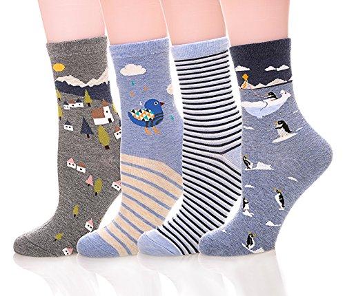 Color City Womens Cute Animal Pattern Socks - Funny Soft Warm Cotton Crew Socks 4-5 (Animal Pattern)