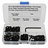 FUNMANY 120 Pcs Alloy Steel Socket Cap Screws Hex Head Bolt Assortment Kit with Storage Box,M36mm/8mm/10mm/12mm Length with Allen Wrench Drive For Sale