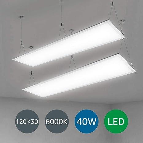 LE Panel LED, lámpara de techo, 36W Equivalente 80W Fluorescente, Blanco frío 6000K, Luz de techo Oficina Salón Despacho Sala de reunión pack de 2