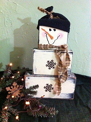 Snowman wood blocks set stacking primitive Christmas décor black hat scarf rusty snowflake buttons -
