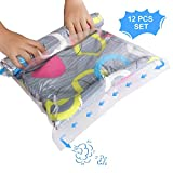 Vemingo Vacuum Storage Bags Roll up Space Saver Bags Save 80% Space No Vacuum Pump Needed 12 PCS (Transparent)
