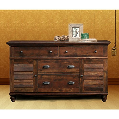 Rustic Buffet Cabinet with Drawers Bedroom Chest Dresser Storage Organizer Louvered Doors 4 Drawers Combo Dresser Entryway Living Room Office Aged Cherry Finish & eBook by BADA Shop ()