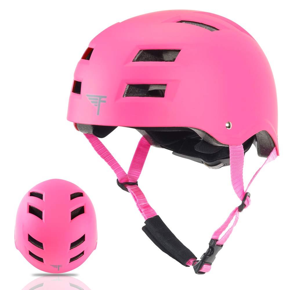 Flybar Dual Certified CPSC Multi Sport Kids & Adult Bike And Skateboard Adjustable Dial Helmet,Pink,M-L by Flybar