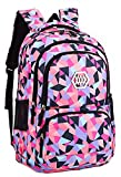 JiaYou Girl Flower Printed Primary Junior High University School Bag Bookbag Backpack (35L, Style B Black)