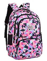 JiaYou Girl Flower Printed Primary Junior High University School Bag Bookbag Backpack (35L, Style B Black)