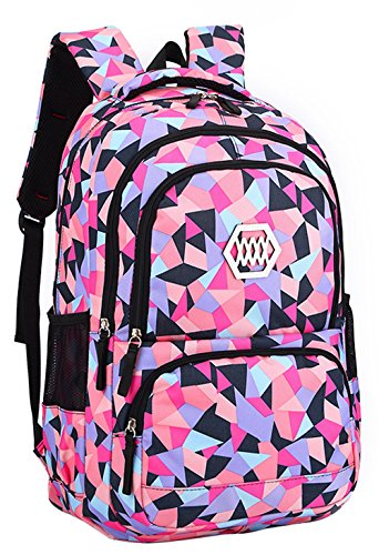 JiaYou Girl Flower Printed Primary Junior High University School Bag Bookbag Backpack(35 Liters, Style B Black)