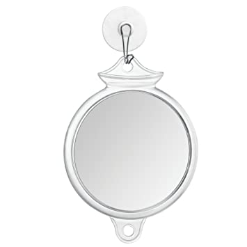 InterDesign Suction Fog Free Shower Shaving Mirror For Bathroom   Clear