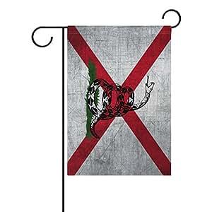 "ONEERA Gadsden Flag Alabama State Flag Dont Tread On Me Weatherproof Polyester House Flag 28"" x 40"" Seasonal Garden Banner"