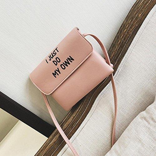 ESAILQ Cuero Bolso de Hombro Bolsa De Mochila Multiusos Baratos Para Movil Mujer Niñas L Rosa
