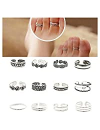 Wholesale 12pcs Celebrity Fashion Simple Sliver Carved Flower Toe Ring Jewelry C by ShiningLove