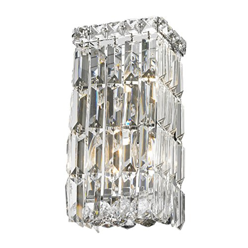 (Worldwide Lighting W23521C6 Cascade 2 Light Rectangular Crystal Wall Sconce, Chrome Finish and Clear Crystal, ADA Compliant, 6