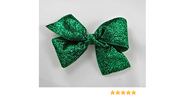 Green Glitter and White Striped Stacked Hair Bow