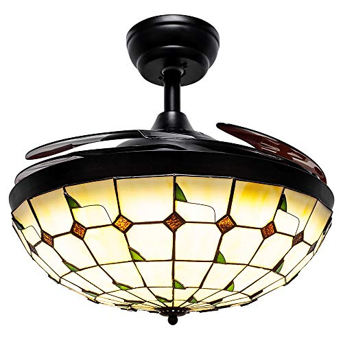 Huston Fan Modern Retractable Ceiling Fan Light for Indoor Dining Room Restaurant Bedroom Tiffany Remote Ceiling Fan with Light,3 Color Changing Chandelier Fan-3 Down Rod,42 Inch Black ()