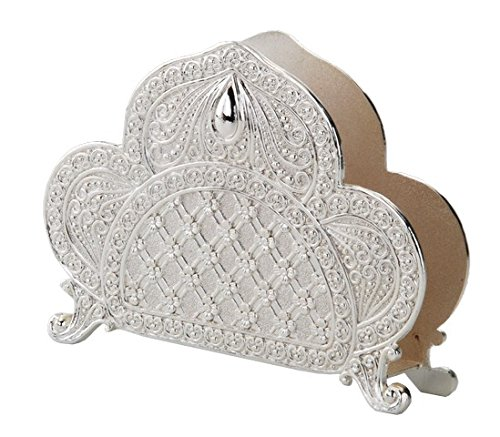 (A&M Judaica And Gifts Nua Collection 58414 Silver Plated Napkin Holder with Filigree Design 3.5 x 5 in.)