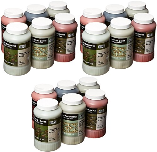 Choice Glazes, 1 pint Capacity, Assorted Colors (3 X Pack of 6) (Cone 6 Oxidation Glazes)