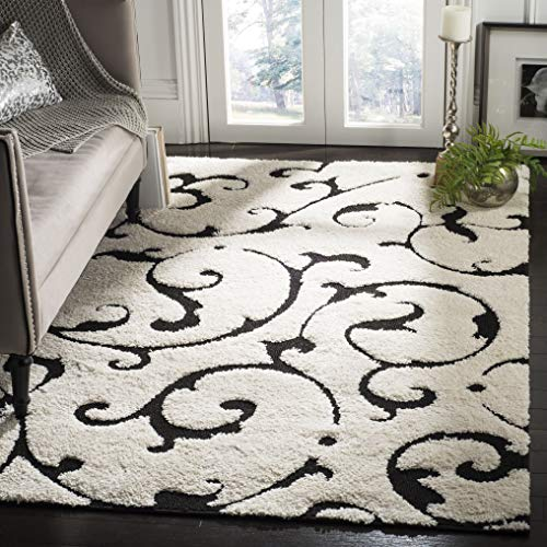 Safavieh Florida Shag Collection SG476-1290 Ivory and Black Scrolls Area Rug (5'3