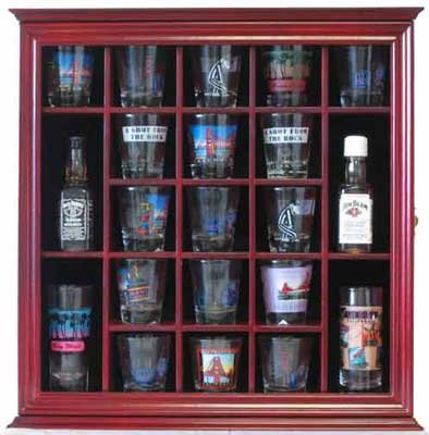 Amazon 21 Shot Glass Shooter Display Case Holder Rack Wall