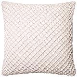 Loloi DSET DSETP0125WH00PIL3 100% Cotton Velvet Cover with Down Fill Decorative Accent Pillow, 22'' x 22'', White