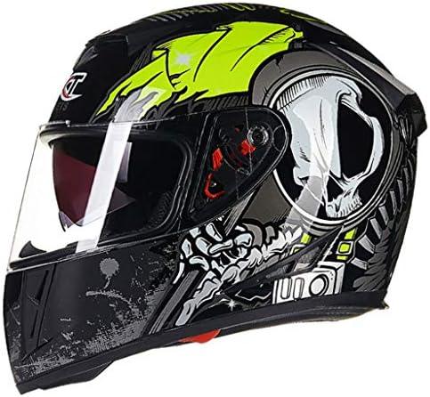 NJ ヘルメット- オートバイヘルメット四季メンズフルフェイスヘルメットダブルレンズ透明防曇ヘルメット (色 : Bright black, サイズ さいず : M m)