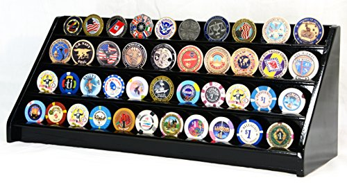 Display Coin Row (4 Rows 40 Challenge Coin / Casino Chip Display Case Rack Holder Stand Solid Wood -Black Finish)