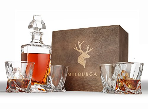 Premium Quality 5-Piece Whiskey Decanter Set and 4 Glasses in Exquisite Hand Crafted Wooden Box - Unique Design Lead-Free Crystal Liquor Decanter. Perfect Gift Set for Scotch, Bourbon or Whisky