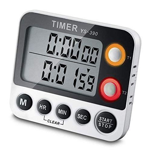 Digital Timer EMDMAK 100 Hour Dual Count Up/down Timer with Magnet Hanging Bracket Large LCD Display Loud Alarm