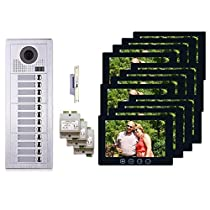 12 Tenant Apartment Entry 2 Wire Video Intercom System Kit 12 Resident Button Panel