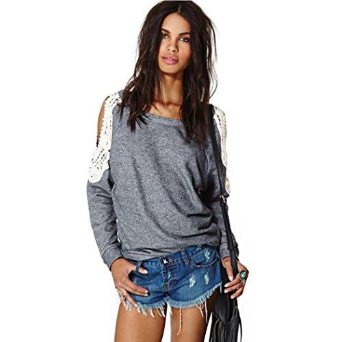 Blackobe Womens Sexy Lace Crochet Shirt Off Shoulder Long Sleeve Blouse Tops (S)