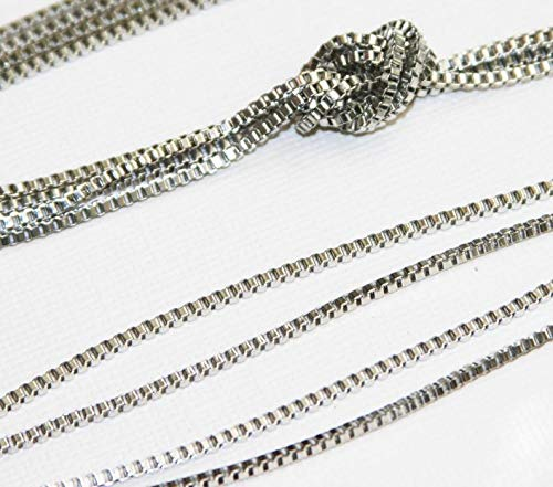 - 10ft Antique Silver Box Chain 2mm, Antique Silver Beading Chain, Platinum Color