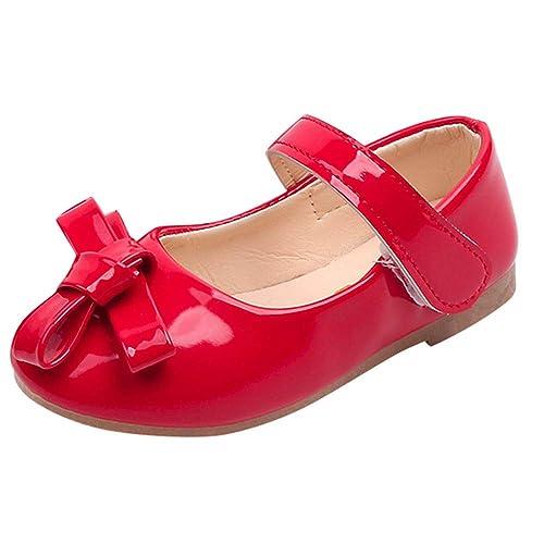 Mitlfuny Niñas Bebe Zapatos de Cuero para Bebé Goma Suela Antideslizantes Bowknot Zapatitos Princesa Andadores Mocasines Primavera Verano Niña Velcro ...
