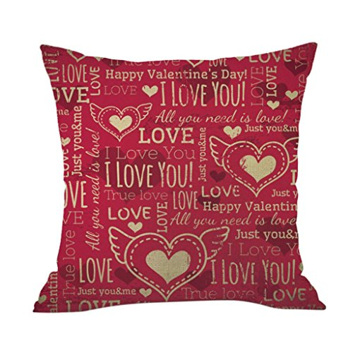 Elogoog Personalized Pillowcase Cotton Linen Square Pillow Cases Sofa Cushion Cover 18 x 18 Inches Home Decor for Car, Living Room,Party, Valentine's Day (Sweet Love - Tone Best Skin Autumn For Colors